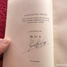 Libros antiguos: 1949.A MIG CAÍ. ANTOLOGIA. TOMÀS ROIG I LLOP. EDICIÓ PAPER DE FIL NÚMERO 88/150 SIGNAT. BARCELONA. Lote 171344985