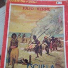 Libros antiguos: ESCUELA DE ROBINSONES, JULIO VERNE. NOVELAS DE AVENTURAS MOLINO NM 2, AÑO 1934. ILUSTRADOR LONGORIA. Lote 171502884