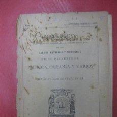 Libros antiguos: CATALOGO Nº 3 AGOSTO-NOVIEMBRE 1896 LIBRERIA DE P. VINDEL. LIBROS AMERICA, OCEANIA Y VARIOS. Lote 171574284