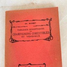 Libros antiguos: LIBRO 1903 SETAS TABLEAUX SYNOPTIQUES CHAMPIGNONS COMESTIBLES ET VENENEUX, DE DR. MANGET. Lote 172161428