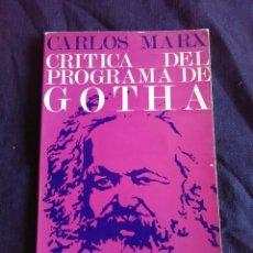 Libros antiguos: CARLOS MARX CRÍTICA DEL PROGRAMA DE GOTHA. Lote 172387708