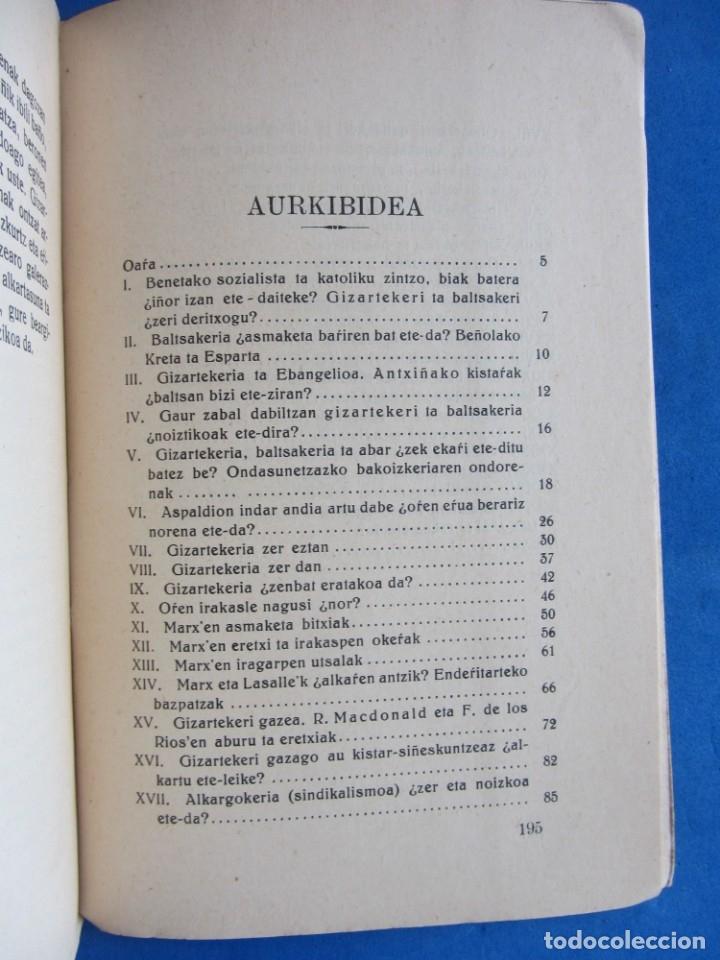 Libros antiguos: Gizarte-Auzia. Eguzkitza´tar Jon Zornotza 1935 Gizarte-ikaskuntzarako idazti-sorta - Foto 8 - 172409222
