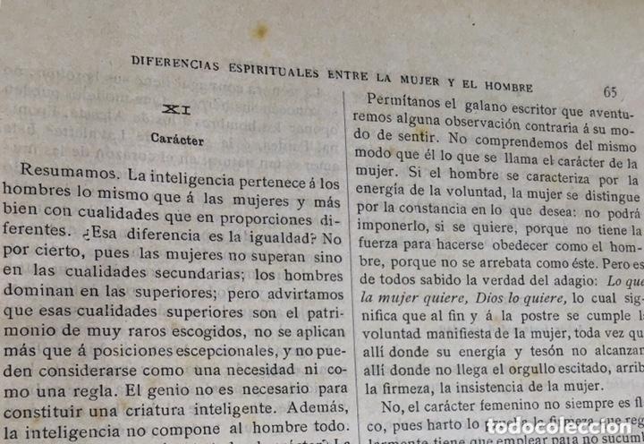 Libros antiguos: EL BELLO SEXO VINDICADO - HISTORIA MORAL DE LAS MUJERES - FRANCISCO NACENTE - 2 TOMOS 1890 ca 1ªEd. - Foto 9 - 172615752