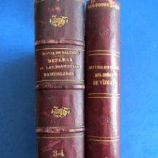 Libros antiguos: DEFENSA HISTÓRICA DEL SEÑORIO DE VIZCAYA NOVIA SALCEDO. BILBAO 1851 PRIMERA EDICIÓN 3 TOMOS.. Lote 172899482