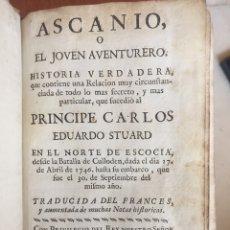 Livres anciens: ASCANIO O EL JOVEN AVENTURERO : HISTORIA VERDADERA .... Lote 172960409