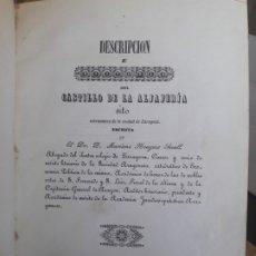 Libros antiguos: RARISIMO LIBRO SOBRE EL CASTILLO DE LA ALJAFERIA, MARIANO NOUGUES, IMP. ANTONIO GALLIFA, 1846. RARO. Lote 173196520