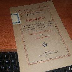 Libros antiguos: MEMORIA, TRABAJOS DE EXTINCION DE PLAGAD DEL CAMPO, EST. DAÑOS POR PEDRISCO.. ZARAGOZA 1921. Lote 173567324
