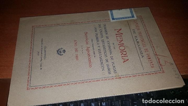 Libros antiguos: Memoria, trabajos de extincion de plagad del campo, est. Daños por pedrisco.. zaragoza 1921 - Foto 7 - 173567324