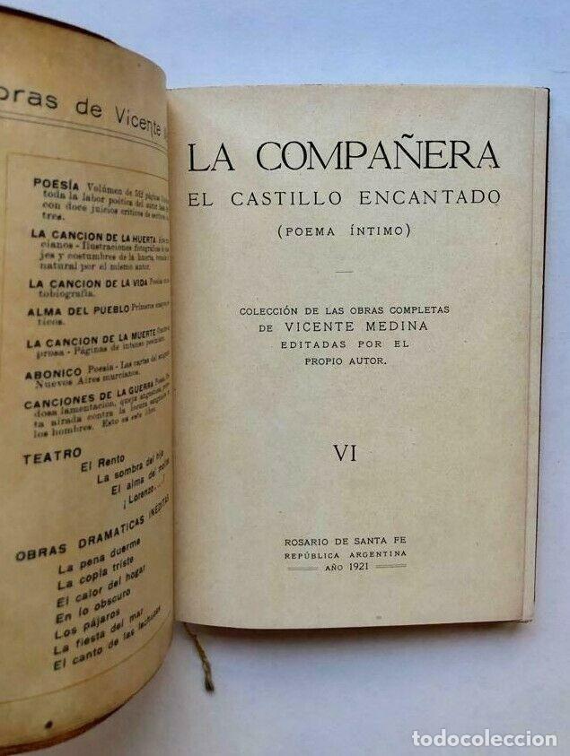 Libros antiguos: Vicente Medina - La compañera - El castillo encantado - Poema intimo 1921 MURCIA - Foto 3 - 173675040