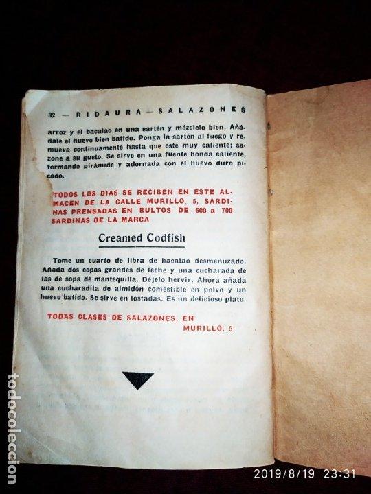 Libros antiguos: ANTIGUO LIBRO RECETAS BACALAO RIDAURA SALAZONES DELEGACION DEL CONSORCIO NACIONAL ALMADRABERO 1934 - Foto 3 - 174106393