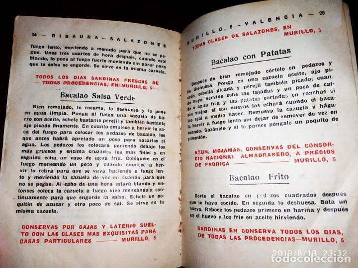 Libros antiguos: ANTIGUO LIBRO RECETAS BACALAO RIDAURA SALAZONES DELEGACION DEL CONSORCIO NACIONAL ALMADRABERO 1934 - Foto 4 - 174106393