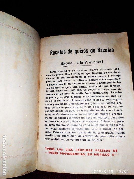 Libros antiguos: ANTIGUO LIBRO RECETAS BACALAO RIDAURA SALAZONES DELEGACION DEL CONSORCIO NACIONAL ALMADRABERO 1934 - Foto 7 - 174106393