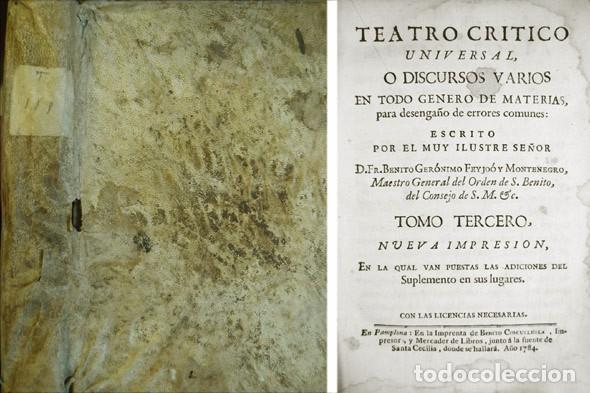 FEIJOO, BENITO JERÓNIMO. TEATRO CRÍTICO UNIVERSAL. TOMO III. PAMPLONA, 1784. (Libros Antiguos, Raros y Curiosos - Pensamiento - Otros)