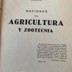 Libros antiguos: NOCIONES DE AGRICULTURA Y ZOOTECNIA. Lote 174310078