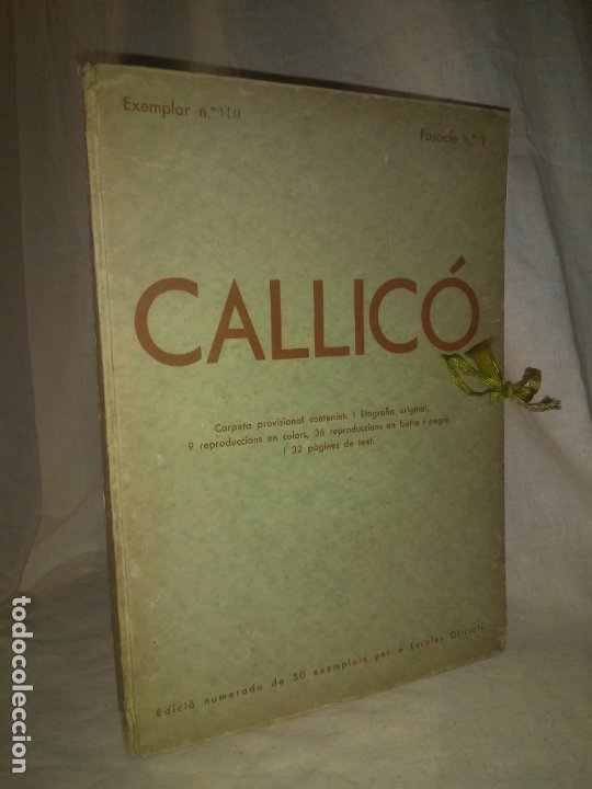 Libros antiguos: CALLICO CARPETA EDICIO NUMERADA ESCOLES OFICIALS - AÑO 1935 - EXCEPCIONAL. - Foto 2 - 174511303