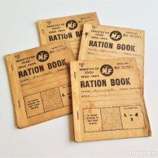Livros antigos: 4 CARTILLAS DE RACIONAMIENTO GENUINO 1953-1954 ARTÍCULO DE COLECCIONISTAS - 11X12.5.CM. Lote 174649353