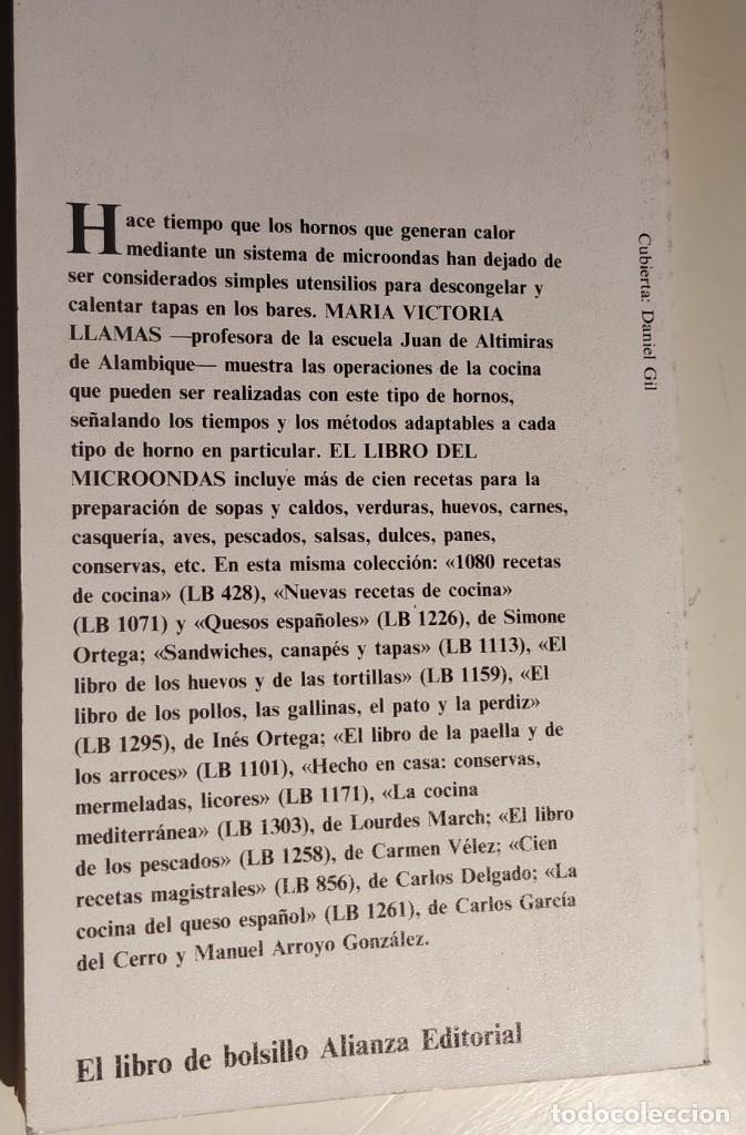 Libros antiguos: El libro del microondas. María Victoria Llamas. Alianza Editorial. 1989 - Foto 2 - 175304253