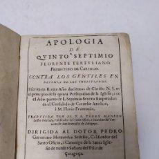 Libros antiguos: LIBRO APOLOGIA DE QUINTO SEPTIMIO FLORENTE TERTULIANO ZARAGOZA AÑO 1644 REINO DE ARAGÓN SIGLO XVII. Lote 175313644