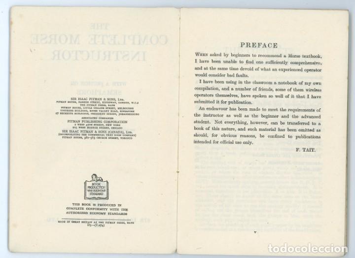 Libros antiguos: The Complete Morse Instructor. F Tait.1944. Manual de Morse. Telegrafía. Telegrafo - Foto 4 - 175479713