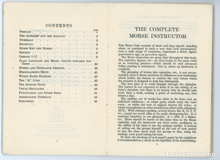 Libros antiguos: The Complete Morse Instructor. F Tait.1944. Manual de Morse. Telegrafía. Telegrafo - Foto 5 - 175479713