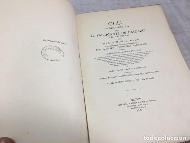 Libros antiguos: Guía teórico practica para fabricante de calzado y hormas Madrid 1878 Láminas desplegables patron - Foto 4 - 175868287