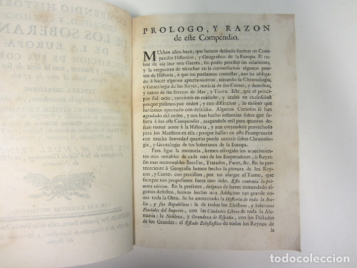 Libros antiguos: COMPENDIO HISTÓRICO, GEOGRÁFICO Y GENEALÓGICO DE LOS SOBERANOS DE LA EUROPA... 1764. - Foto 5 - 175995042