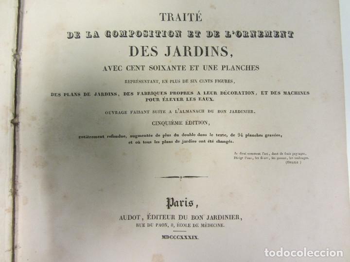 Libros antiguos: Traité de la Composition et de lOrnement des Jardins. AUDOT L. E.-?. 1839 - Foto 6 - 175995475