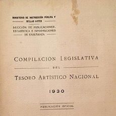 Libros antiguos: COMPILACIÓN LEGISLATIVA DEL TESORO ARTÍSTICO NACIONAL. 1930 (REALES ORDENES, DECRETOS, DISPOSICIONE. Lote 176229488