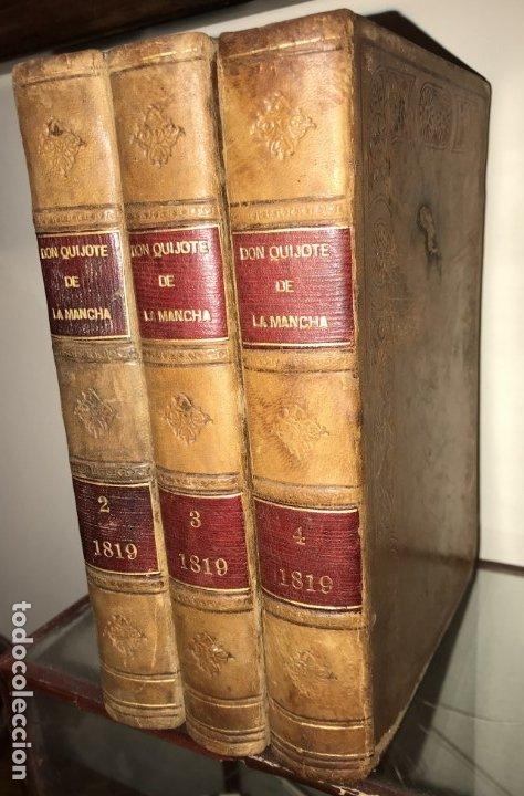1819 DON QUIJOTE DE LA MANCHA. REAL ACADEMIA ESPAÑOLA. IMPRENTA REAL. GRABADOS DE RIVELLES. 3 TOMOS (Libros antiguos (hasta 1936), raros y curiosos - Literatura - Narrativa - Otros)