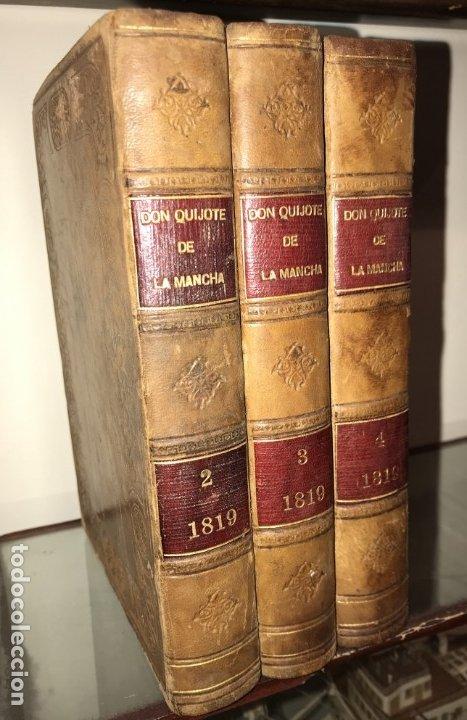 Libros antiguos: 1819 DON QUIJOTE DE LA MANCHA. REAL ACADEMIA ESPAÑOLA. IMPRENTA REAL. GRABADOS DE RIVELLES. 3 TOMOS - Foto 2 - 176510073