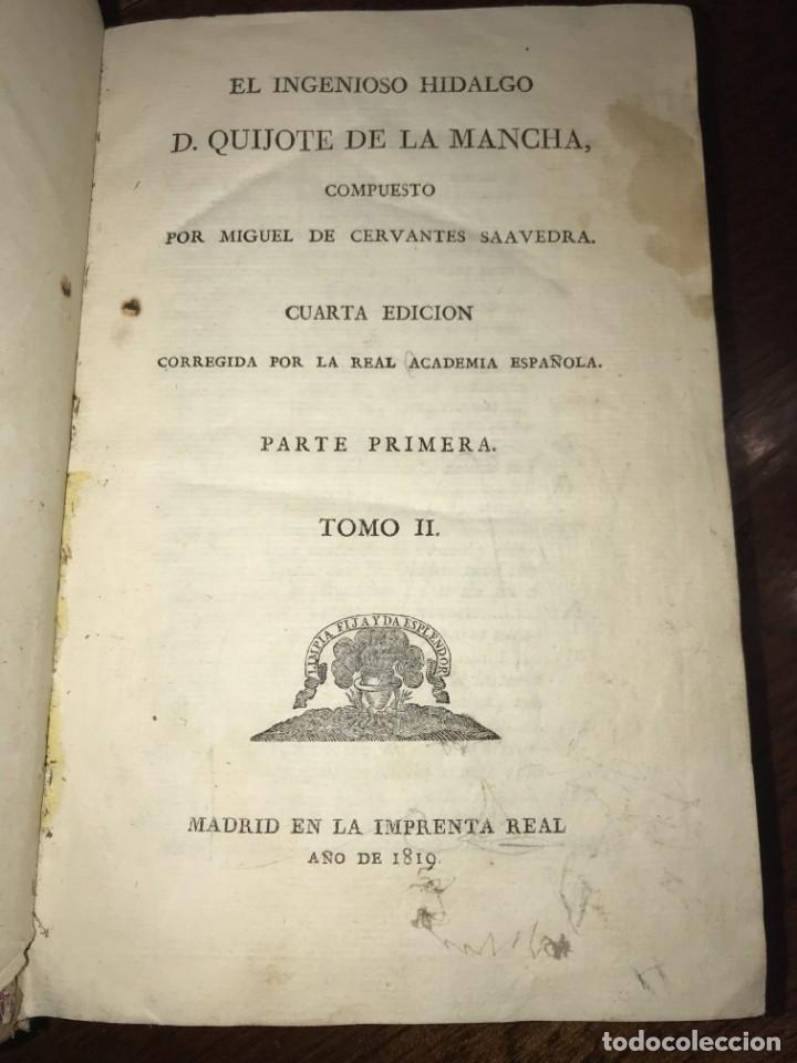 Libros antiguos: 1819 DON QUIJOTE DE LA MANCHA. REAL ACADEMIA ESPAÑOLA. IMPRENTA REAL. GRABADOS DE RIVELLES. 3 TOMOS - Foto 3 - 176510073