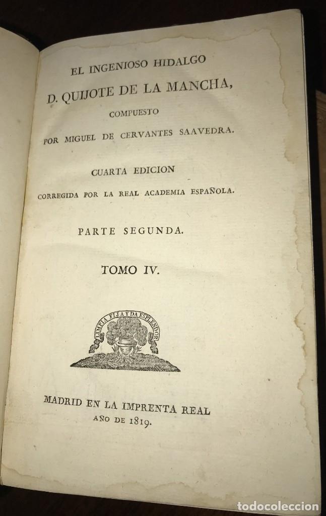 Libros antiguos: 1819 DON QUIJOTE DE LA MANCHA. REAL ACADEMIA ESPAÑOLA. IMPRENTA REAL. GRABADOS DE RIVELLES. 3 TOMOS - Foto 7 - 176510073
