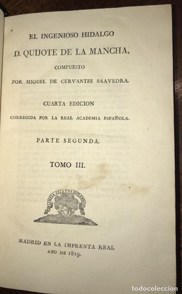 Libros antiguos: 1819 DON QUIJOTE DE LA MANCHA. REAL ACADEMIA ESPAÑOLA. IMPRENTA REAL. GRABADOS DE RIVELLES. 3 TOMOS - Foto 10 - 176510073