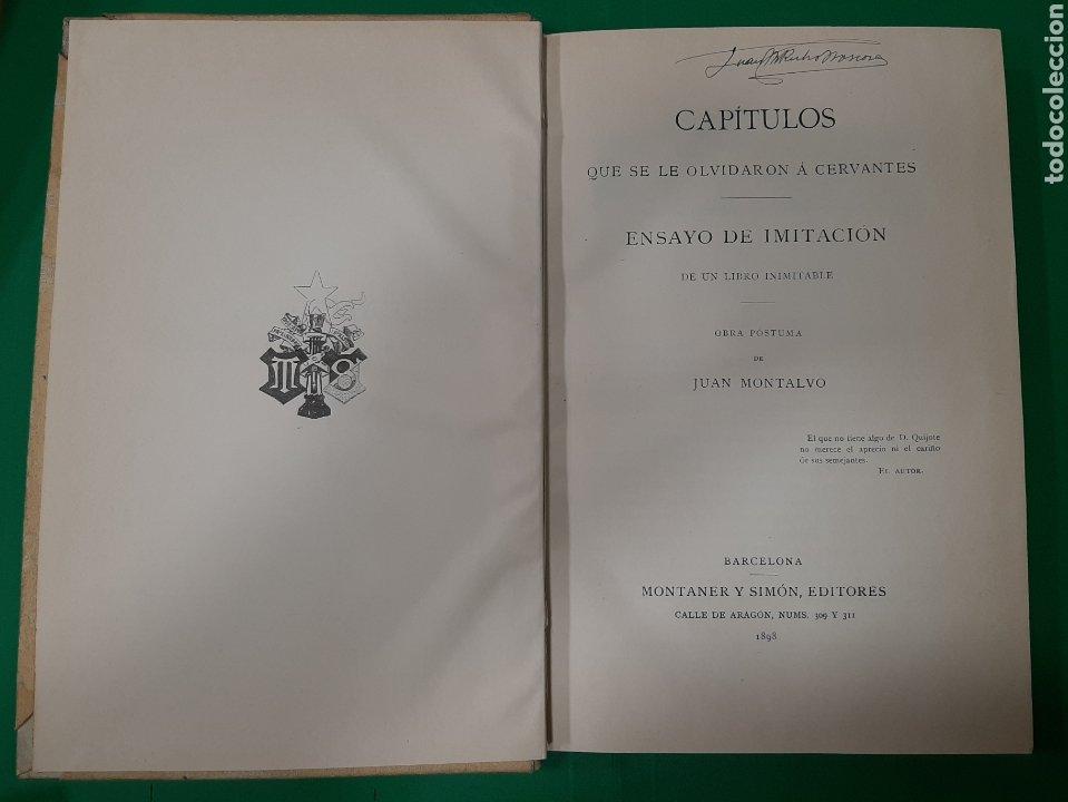 Libros antiguos: CAPITULOS QUE SE LE OLVIDARON A CERVANTES, MONTANER Y SIMON. AÑO 1898. - Foto 2 - 176588982