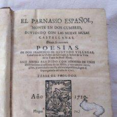 Libros antiguos: EL PARNASSO ESPAÑOL. FRANCISCO DE QUEVEDO VILLEGAS. MADRID. 1729.. Lote 176923440