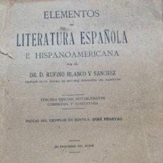 Libros antiguos: ELEMENTOS DE LITERATURA ESPAÑOLA E HISPANOAMERICANA. Lote 176996572