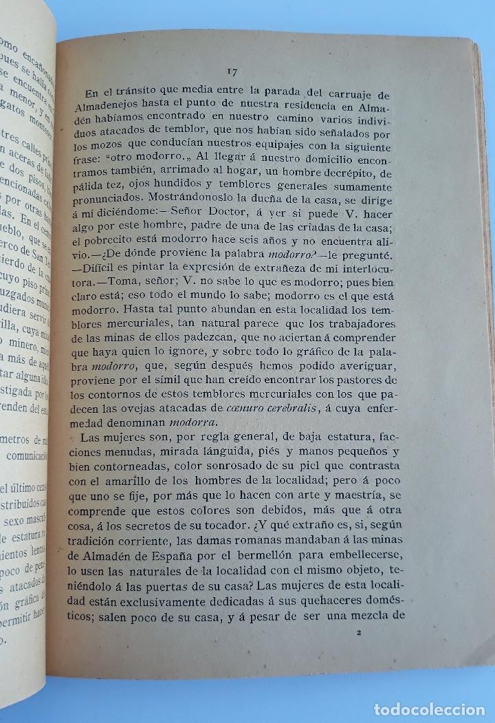 Libros antiguos: ESTUDIO CLINICO DE LAS ENFERMEDADES QUE PADECEN LOS OBREROS DE LAS MINAS DE ALMADEN. 1888. raro W - Foto 2 - 177177798