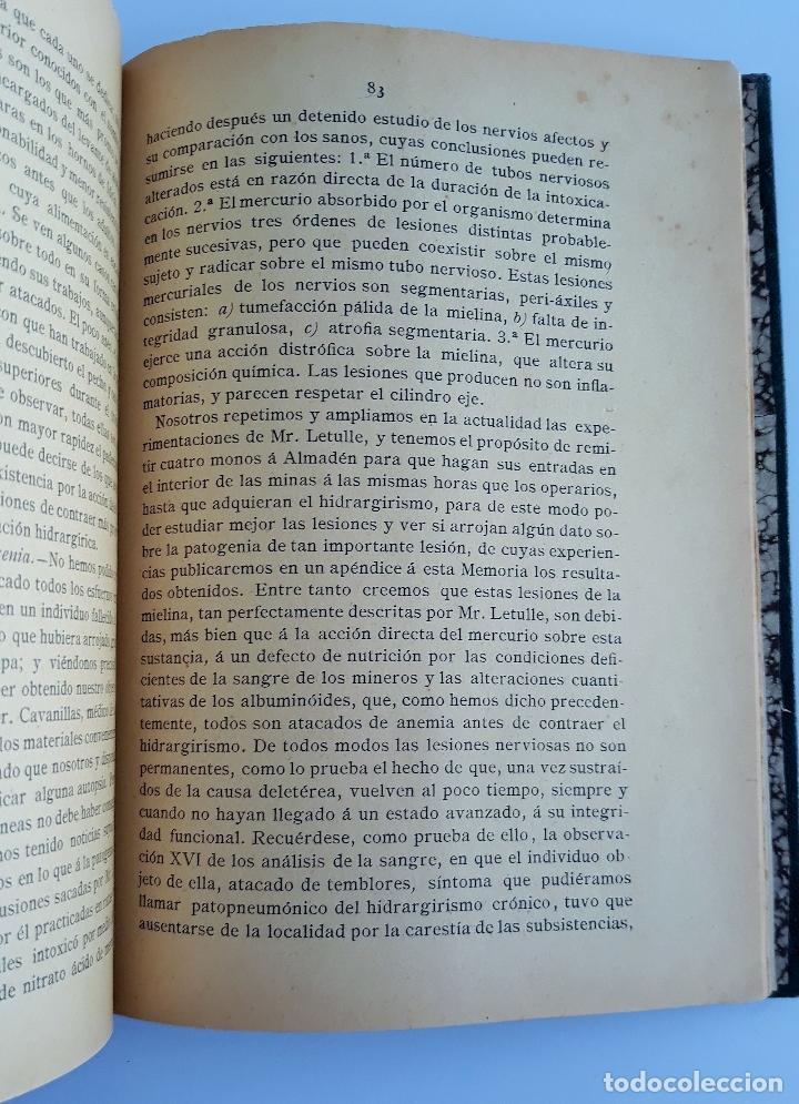 Libros antiguos: ESTUDIO CLINICO DE LAS ENFERMEDADES QUE PADECEN LOS OBREROS DE LAS MINAS DE ALMADEN. 1888. raro W - Foto 3 - 177177798