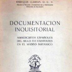 Libros antiguos: DOCUMENTACIÓN INQUISITORIAL. MANUSCRITOS DEL M. BRITÁNICO. (INQUISICIÓN. VIDA RELIGIOSA. INDICE. Lote 195380030