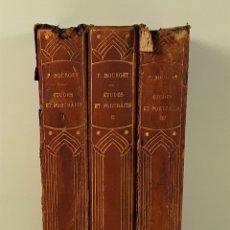Libros antiguos: ÉTUDES ET PORTRAITS. TOMOS I, II Y III. P. BOURGET. EDIT. PLON-NOURRIT. PARÍS. 1905/06.. Lote 177802780