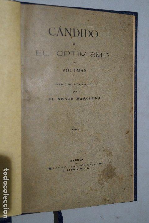Libros antiguos: CÁNDIDO O EL OPTIMISMO. VOLTAIRE. - Foto 2 - 178055154