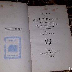 Libros antiguos: BLAISE PASCAL LETTRES ESCRITES A UN PROVINCIAL PARIS 1829 EN FRANCES. Lote 178733865