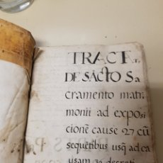 Libros antiguos: PRECIOSO LIBRO MANUSCRITO ENTORNO SIGLO XVI/XVII PERGAMINO TAPAS DE PIEL INCUNABLE ANTIGUO. Lote 178769482