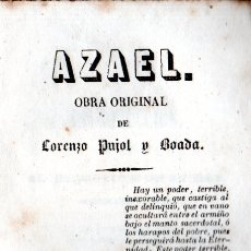 Libros antiguos: LORENZO PUJOL Y BOADA : AZAEL (BORRÁS, 1946) NOVELA SOCIAL. Lote 178839546