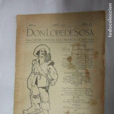 Libros antiguos: DON LOPE DE SOSA - CRONICA MENSUAL PROVINCIA DE JAEN - MARZO 1928 - NUMERO 183. Lote 43358173