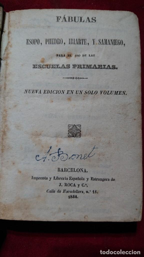 COLECCION DE FABULAS ESOPO, PHEDRO, IRIARTE Y SAMANIEGO PARA USO EN ESCUELAS PRIMARIAS AÑO 1844 (Libros Antiguos, Raros y Curiosos - Literatura Infantil y Juvenil - Otros)