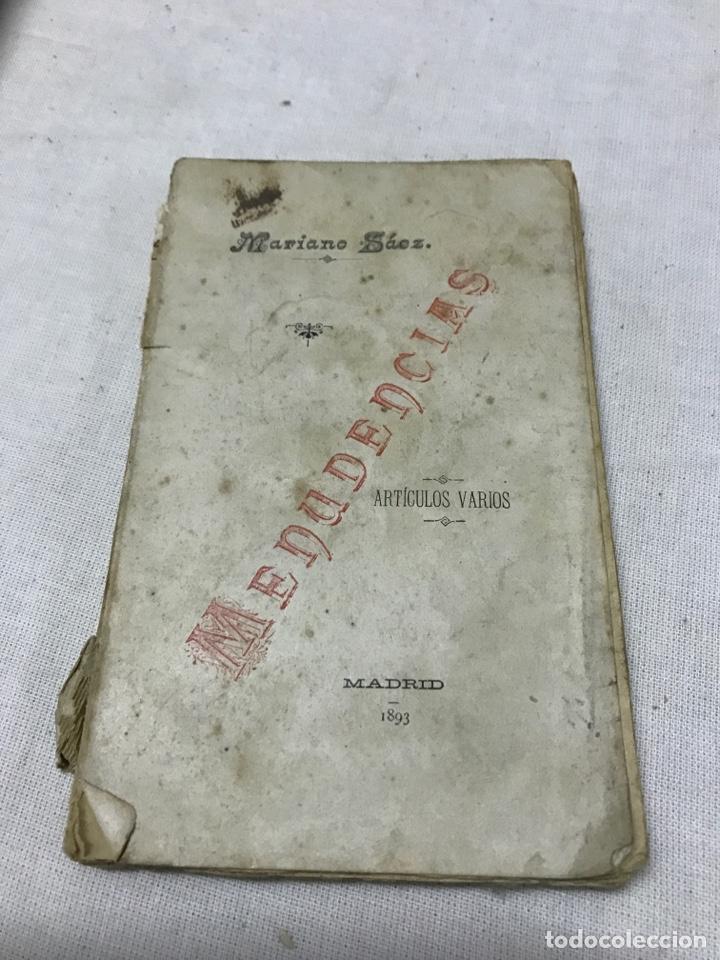 MENUDENCIAS POR MARIANO SÁEZ MADRID 1893 (Libros Antiguos, Raros y Curiosos - Literatura - Otros)