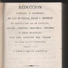 Libros antiguos: REDUCCIÓN DE LAS MONEDAS, PESOS Y MEDIDAS DE CASTILLA CON LAS DE CATALUÑA, ARAGÓN.. NUMISMÁTICA 1823. Lote 179108405