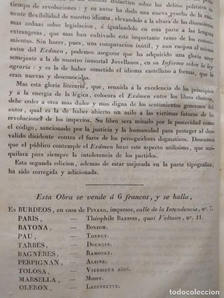 Libros antiguos: Examen de los delitos de infidelidad a la patria. Felix María Reinoso. Burdeos. 1818. 2ª Edición - Foto 6 - 179126357