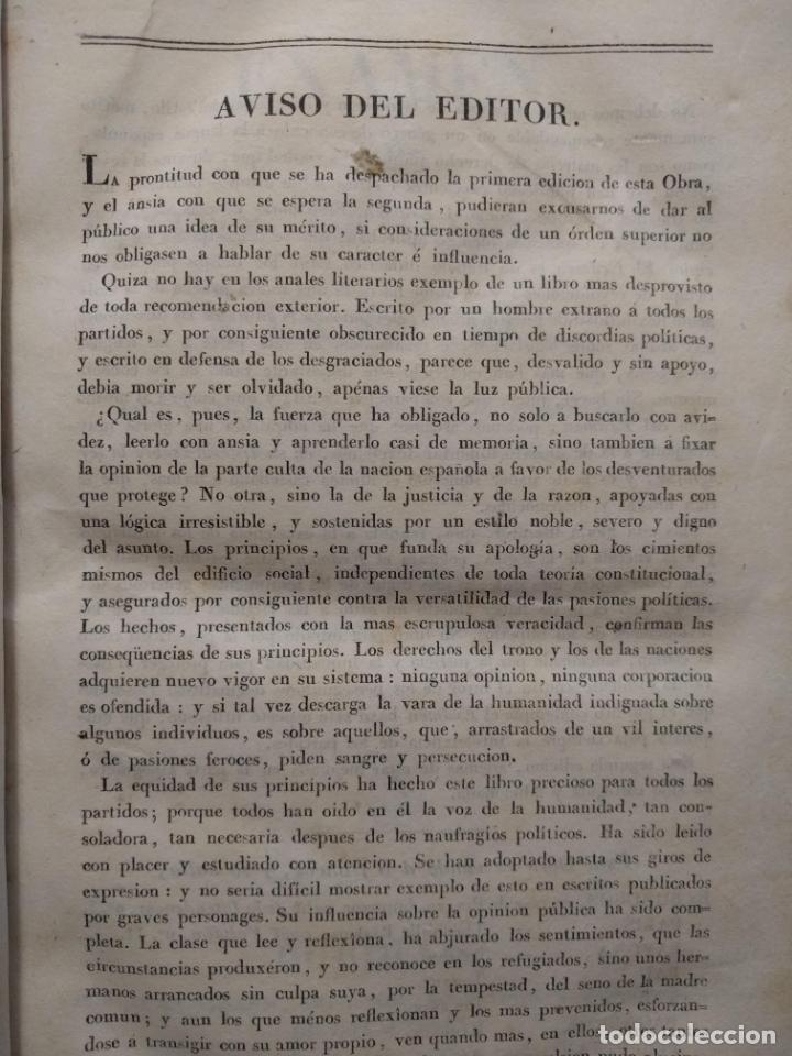 Libros antiguos: Examen de los delitos de infidelidad a la patria. Felix María Reinoso. Burdeos. 1818. 2ª Edición - Foto 5 - 179126357